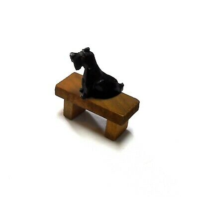 Vintage ANRI Italy Wood Carved Scottish Terrier Puppy Dog On Bench Figure