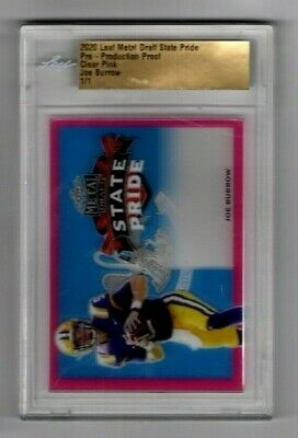 Joe Burrow 2020 Leaf Metal Draft State Pride Clear Pink Proof 1/1 Bengals LSU