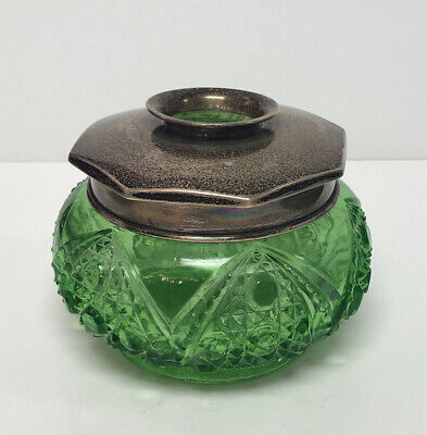 Antique Emerald Green Glass Hair Receiver w/ Sterling Silver 925 Top Lid