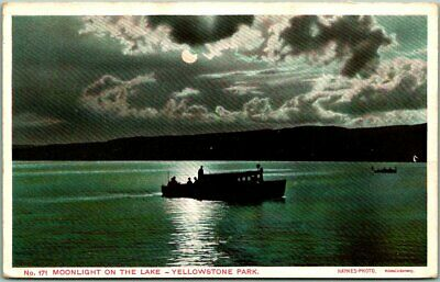 "1909 Yellowstone National Park Postcard ""Moonlight on the Lake"" Boating Scene"
