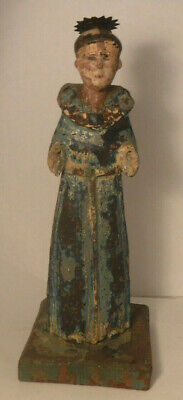 Hand Carved Religious Antique Spanish Painted Wooden Santos Saint Statue Figure*