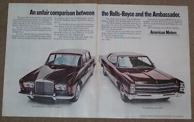 Vintage 1968 Two Page Attached Ad, Comparing Ambassador Dpl To Rolls-Royce