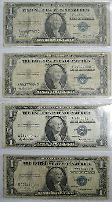 Lot Of Twelve 12 Different Old Us Bank Notes (1934-1963)