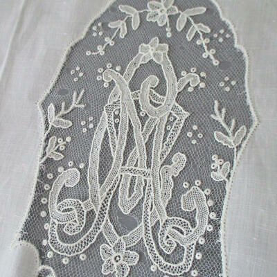 8 French LINEN Towels Handmade Point de Gaze LACE Inserts Monogram * AS IS Study