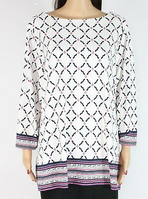 Charter Club Womens Blouse White Multi Size 3X Plus Printed 3/4 Sleeve $79- 148