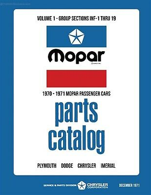 1970 - 1971 Chrysler Car Body & Chassis Parts Book