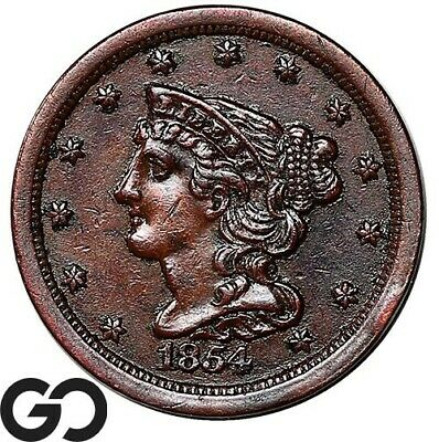 1854 Half Cent, Braided Hair, Collector Coin Early Copper