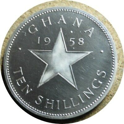 elf Ghana 10 Shillings 1958  Star  Silver Proof  only 11,000 minted