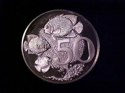 Cayman Islands 50 Cents Silver Proof 1979 Tropical Fish (Toning)