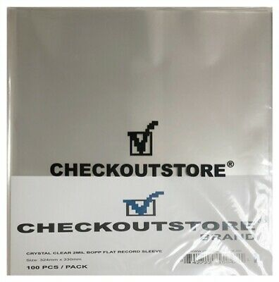 "100 COS Crystal Clear Plastic BOPP for 12"" Vinyl 33 RPM Records (Outer Sleeves)"