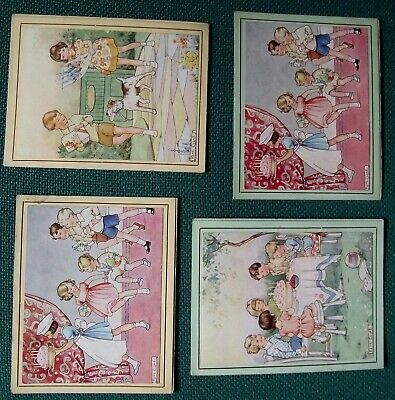 Vintage RENE CLOKE religious birthday cards x 4, super illustrations, vgc, 1940s