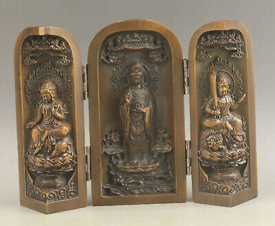 Chinese old wood statue hand-carved buddha folding screen