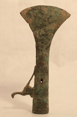 Warring States Bronze ax Spear Head with bird and inscription