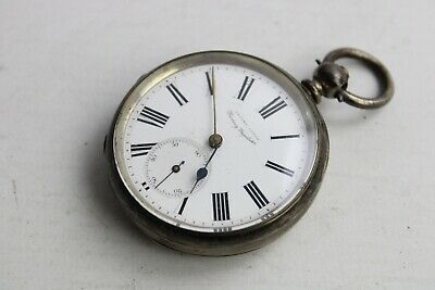 Antique Gents .925 STERLING SILVER Open Faced Fusee POCKET WATCH Key-Wind (87g)