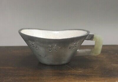 A beautiful Chinese 19C inscribed pewter encased Yixing stoneware tea scoop