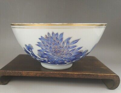 A very fine Chinese 19C blue&white floral bowl-Guangxu mark&period
