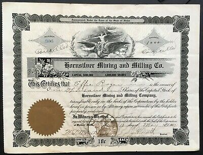 HORNSILVER MINING and MILLING COMPANY Stock 1907. Wallace, Shoshone Co., Idaho