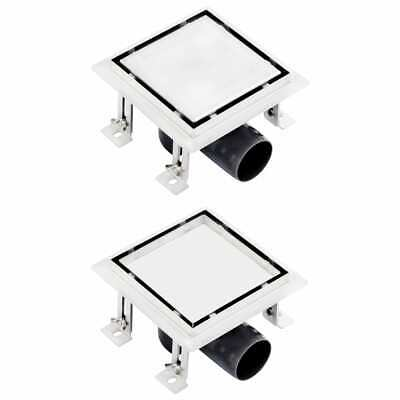 vidaXL Shower Drain With 2-in-1 Flat and Tile Insert Cover Stainless Steel#