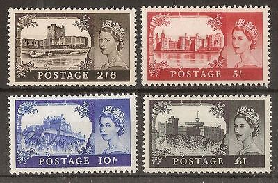 GB 1963 Castles Stamps to £1~4 Values ~BW~595a-598a~Unmounted Mint~UK Seller