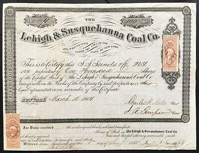 LEHIGH & SUSQUEHANNA COAL COMPANY Stock 1864. New York. SCARCE Certificate. VF