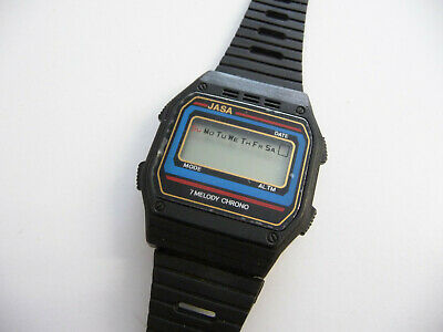 Vintage Jasa 7 Melody Chrono wrist watch; LCD digital screen display; 1980's era