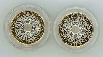 GB 1997-1998 UK PIEDFORT £2 Silver Proof Coin Set by Royal Mint