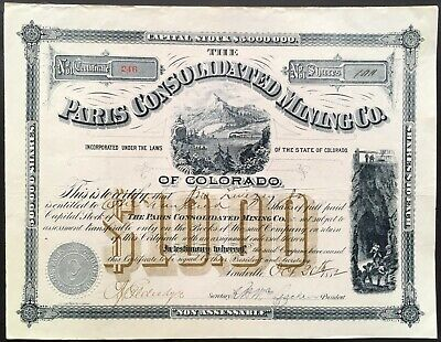 PARIS CONSOLIDATED MINING COMPANY of COLORADO Stock 1882. Leadville. BEAUTY. EF