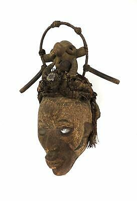 Bakongo Fetish Mask With Headdress Congo African Art