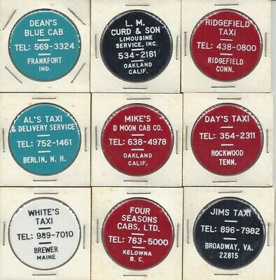 Group of 9 taxi ride tokens - Indiana, California, New Hampshire, Virginia, etc.