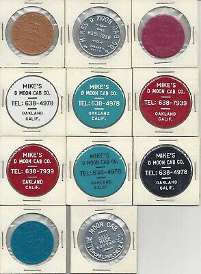 Group of 11 taxi ride tokens - Mike's D Moon Cab Co., Oakland, California