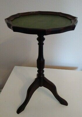 Antique Mahogany Leather Topped Pie Crust Wine Table Tripod Legs Nice Condition