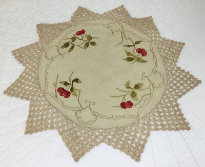 Antique Vintage Small Tablecloth, Large Doily, Cotton, Beige, Embroidered Flower