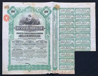 Russian Bond - 1915 Russian Tobacco Company share cert for 100x £1 shares
