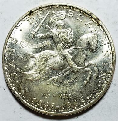 Luxembourg, 100 Francs, 1946, Frosty Unc, John the Blind/Knight .67 Ounce Silver
