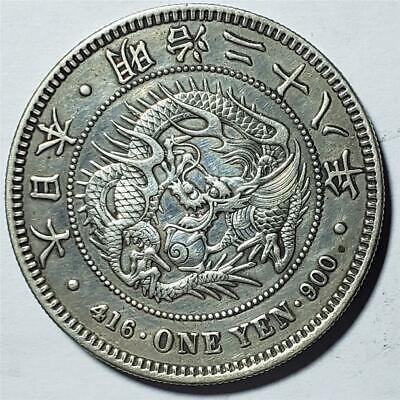 Japan, Yen, Meiji 28 (1895), Almost Uncirculated, Polished, Dragon, .78 Silver