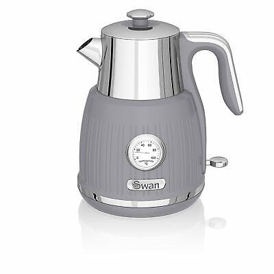Swan Stylish Kitchen Retro GREY 3kW, 1.5L Kettle,w Temperature Dial, Fast Boil