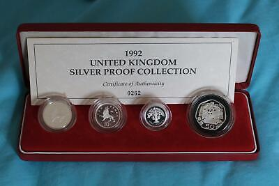 GB 1992 UK Silver Proof Coin Collection 10p, 10p, £1 & 50p with Case & COA