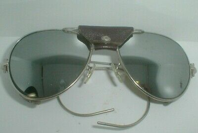 VINTAGE AVIATOR MIRRORED LENS leather applications SUNGLASSES