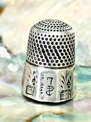 Antique Sterling Silver Thimble Stern Bros. Panel Design with Barn/Cuppola