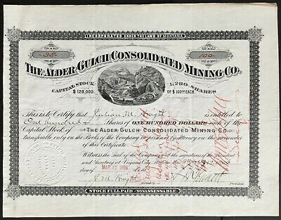 ALDER GULCH CONSOLIDATED MINING CO Stock 1906. Virginia City, Montana. Boom Town