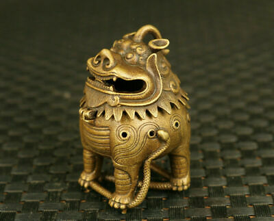 chinese old bronze kirin leo statue Handcarved figure incense burner decoration