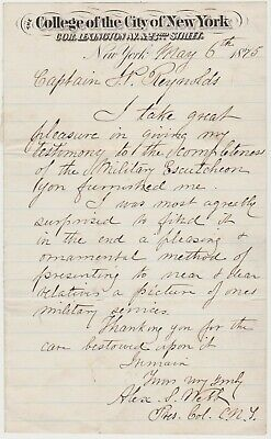 Civil War General Alexander S Webb - Gettysburg - 1875 Autograph Letter Signed