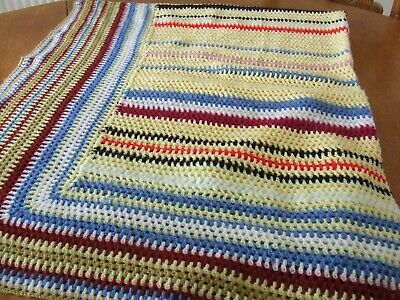 Large Multi Colored Hand Crochet Wool Blanket.