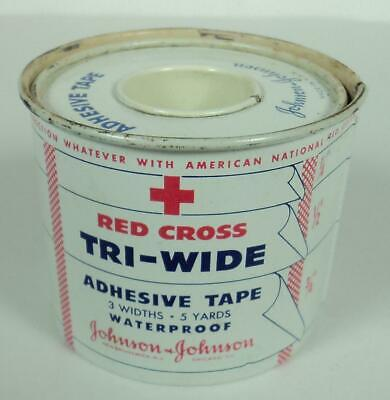 Vintage 40's WWII Era Red Cross Johnson & Johnson Tri-Wide Adhesive Tape