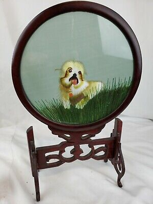 Unusual old Chinese wood stand with foo dog embroidery