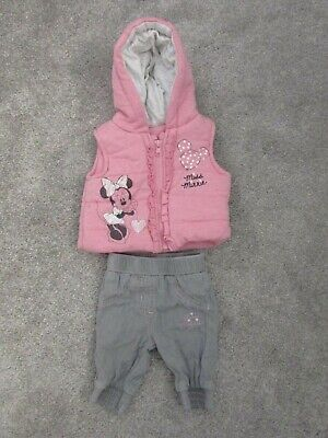 George baby girls First size Disney Minnie Mouse bodywarmer + trousers set - VGC