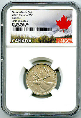 2020 Canada 25 Cent Ngc Pf70 Matte Proof Quarter First Releases - Wow
