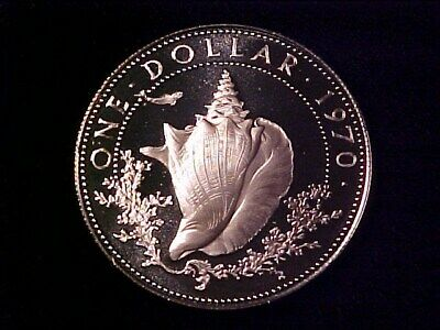 Bahamas $1 Silver Proof 1970 Conch Dollar Nice Gem Cameo