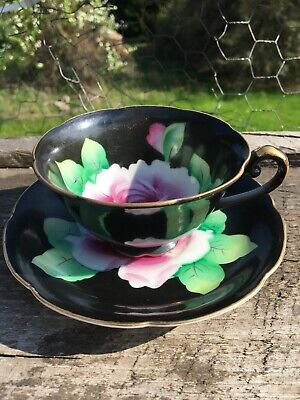 Occupied Japan Hand Painted Black Cabbage Roses Floral Cup and Saucer