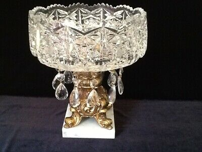 """HOLLYWOOD REGENCY Italy Crystal Bowl~Prisms Marble Pedestal Compote 9 1/2"""" Tall"""